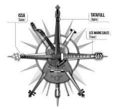 illustration de présentation de la soirée avec MUSIC LOOKING FURTHER :  ISSA (Swe)+ TATAFULL (Al) + LES MAINS SALES (Fr)