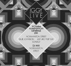 illustration de présentation de la soirée avec IGGY LIVE : NORMANTON STREET (UK)+ BOBBIE JOHNSON (UK) + JUST LIKE FRUIT (UK) + SONALLY (FR)