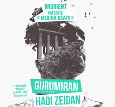 illustration de présentation de la soirée avec ONORIENT présente « MEDINA BEATS »  GURUMIRAN + HADI ZEIDAN + ASWAAT  de A.CATTENOZ