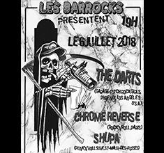 illustration de présentation de la soirée avec Les Barrocks présentent : The Darts – Chrome Reverse – Shupa