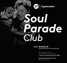 illustration de présentation de la soirée avec Soul Parade Club 64 | Guest Andreas B (DK/USA)
