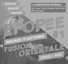 illustration de présentation de la soirée avec Epopée #1 Fusion Orientale et Wael Alkak et Makkouk Disquaire Club