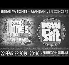 illustration de présentation de la soirée avec Mandakil et Break ya bones