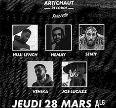illustration de présentation de la soirée avec Artichauts Records w/ Joe Lucazz, Vehika, Senti', Hemay, Huji Lynch