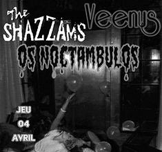 illustration de présentation de la soirée avec The Shazzams + Veenus + Os Noctambulos