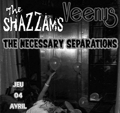 illustration de présentation de la soirée avec The Shazzams + Veenus + The Necessary Separations