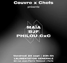 illustration de présentation de la soirée avec Couvre x Chefs : Maïa, BJF, Philou CxC